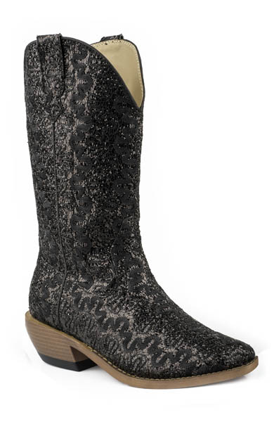 Women's Fashion Snip Toe Black Glitter Boot by Roper
